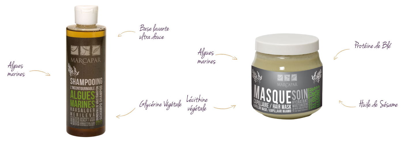 photo shampooing et masque aux algues marines et Marcapar